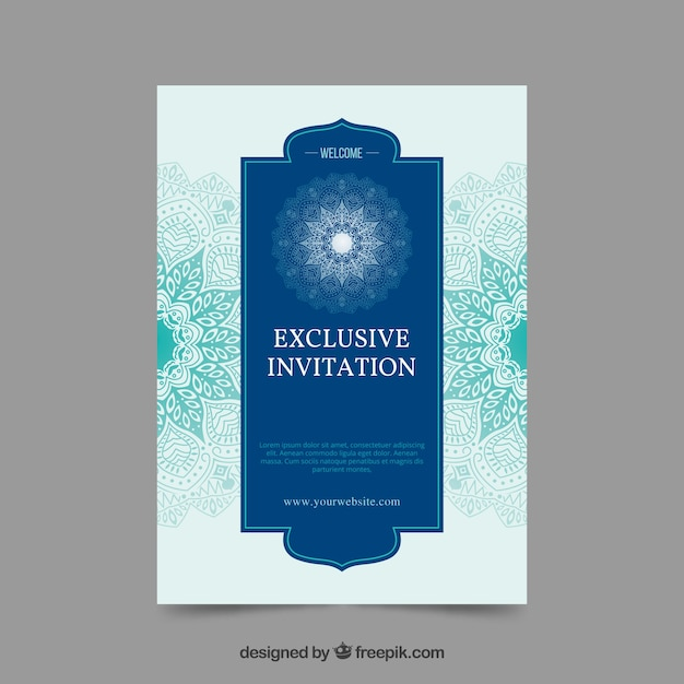 Exclusive invitation with mandala design vector free download exclusive invitation with mandala design free vector stopboris Image collections