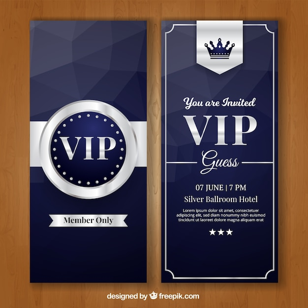 Exclusive pack of elegant silver vip cards Free Vector