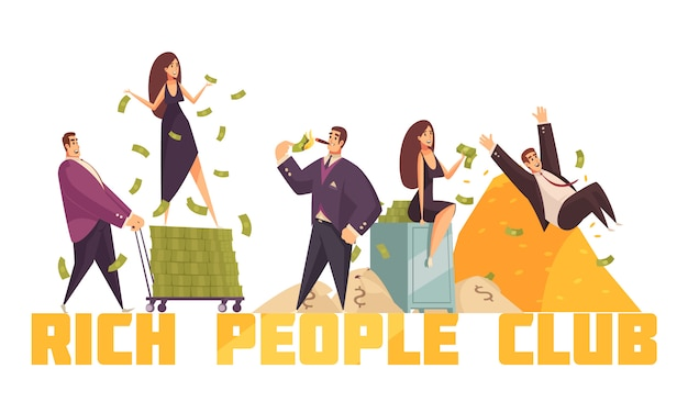 Exclusive rich people celebrities club header with millionaire sliding from money heap horizontal composition cartoon Free Vector
