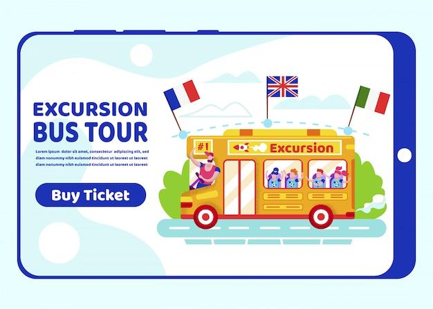 Excursion bus tour mobile app page onboard screen Premium Vector