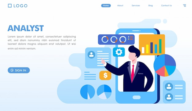 Executive business analyst landing page template Premium Vector