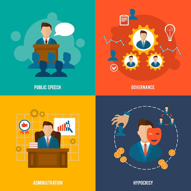 Executive character and elements composition flat style set Free Vector