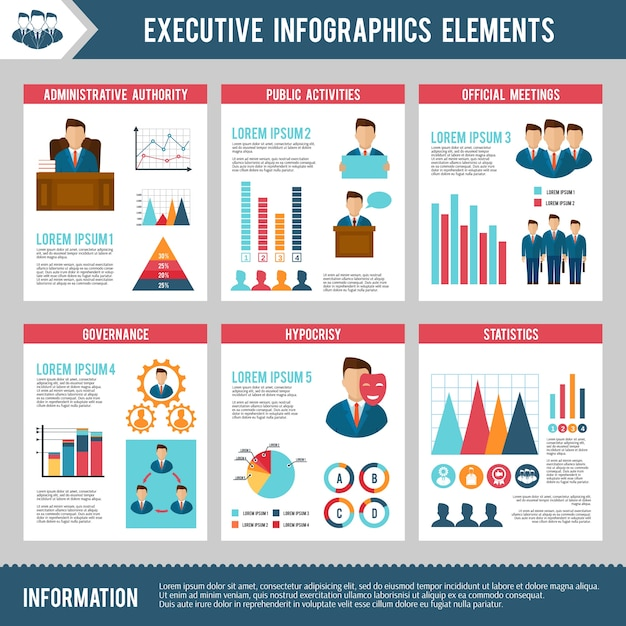 Executive infographics set Free Vector
