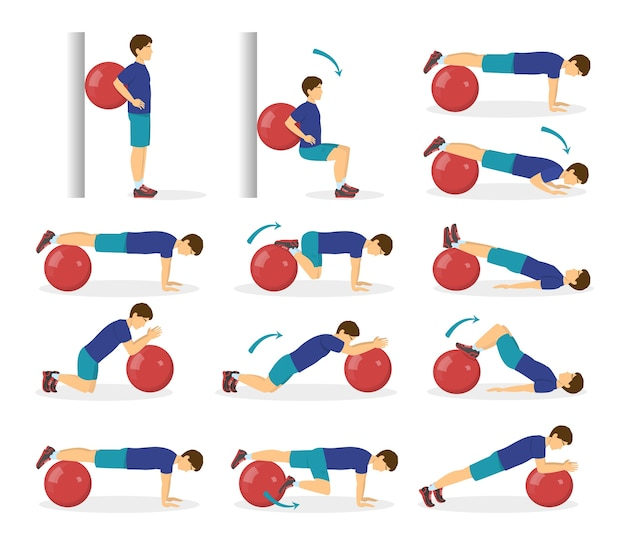 Exercise ball workout set. idea of body health and training in the gym. healthy lifestyle. workout with equipment.   illustration in cartoon style Premium Vector