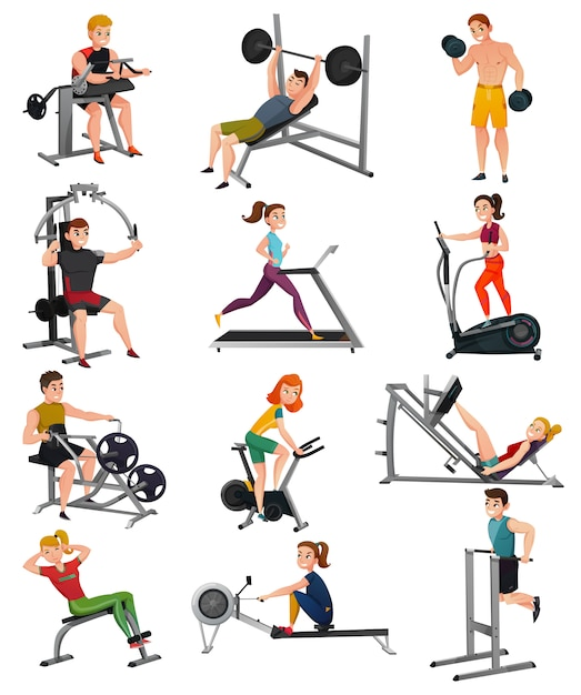 Exercise equipment with people set Free Vector
