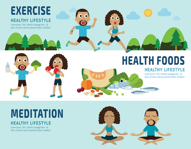 Exercise and healthy foods concept elements infographic Premium Vector