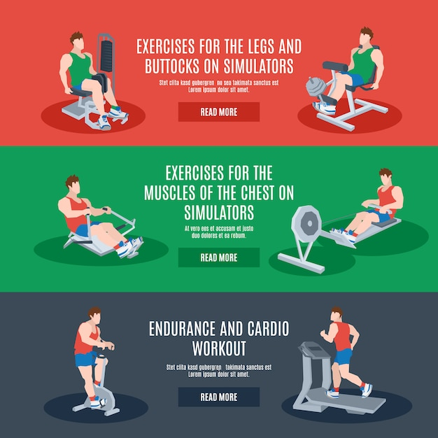 Exercise machines set Free Vector