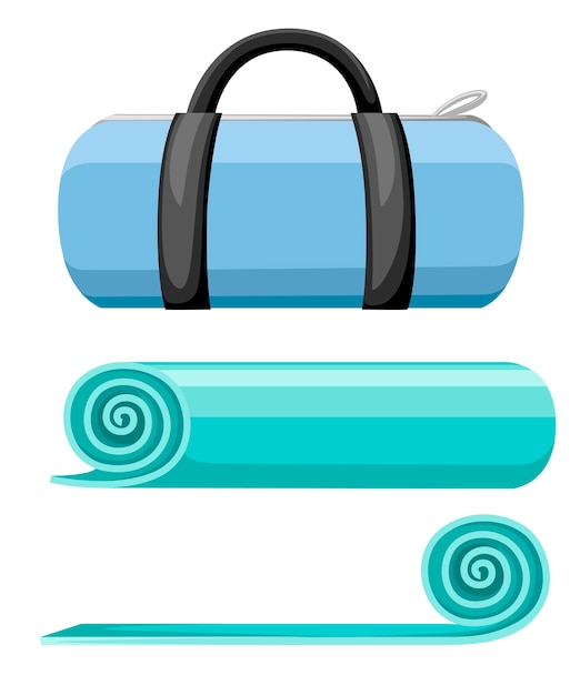 エクササイズマットとスポーツバッグ。ターコイズブルーのヨガマットを巻いて開きます。白い背景のイラスト。 Premiumベクター