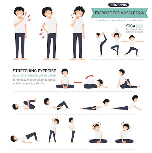 Exercise for muscle pain infographic Premium Vector