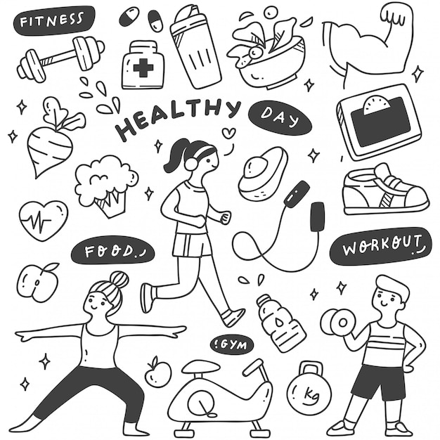 Exercise people with food and equipment Premium Vector