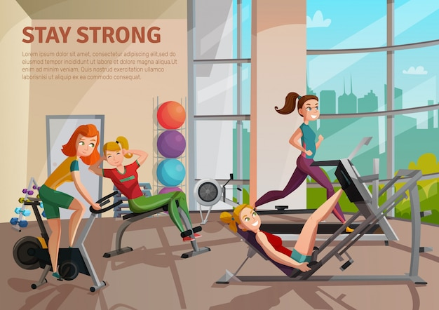 Exercise room illustration Free Vector