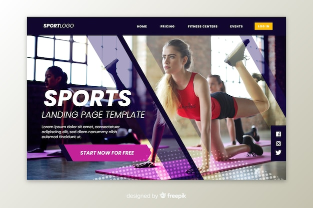 Exercise sport landing page Free Vector