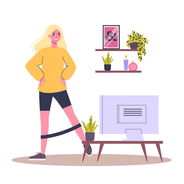 Exercise workout. idea of body health and training. healthy lifestyle. workout with equipment.   illustration in cartoon style Premium Vector