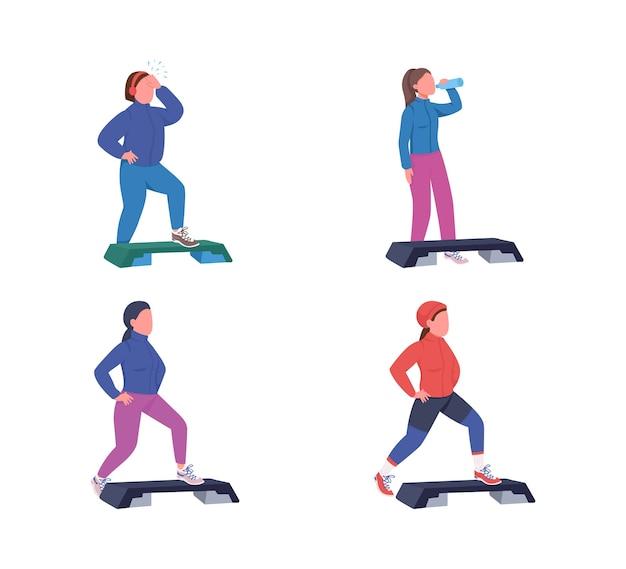 운동 여성 플랫 컬러 얼굴이없는 문자 집합. 데크가있는 피트니스 운동. 스포츠 훈련. 웹 그래픽 디자인 및 애니메이션 컬렉션에 대한 에어로빅 격리 된 만화 그림을 단계 프리미엄 벡터