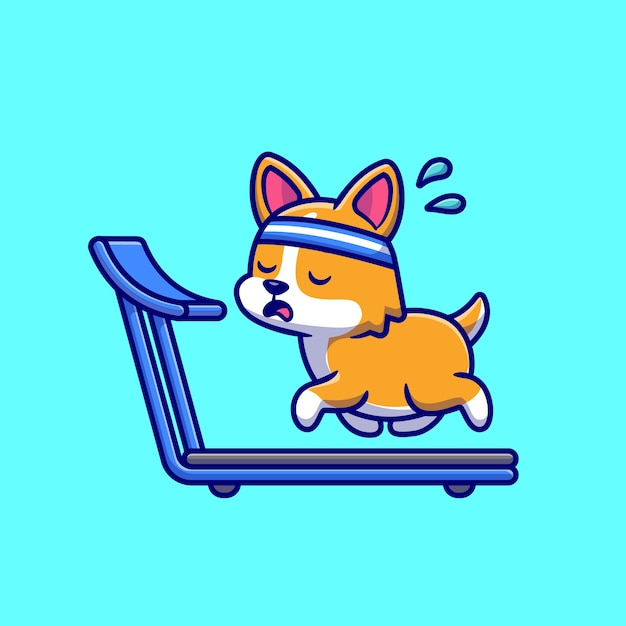 Exhausted corgi running on the treadmill cartoon vector icon illustration. Premium Vector