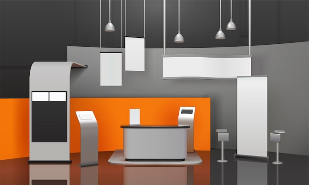 Exhibition booth 3d composition Free Vector