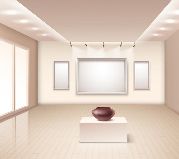 Exhibition gallery interior with brown vase Free Vector