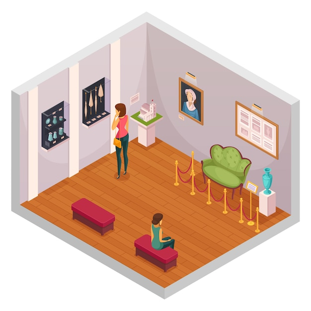 Exhibition isometric composition Free Vector