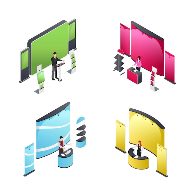 Exhibition isometric compositions Free Vector