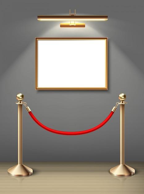 スポットライトと赤いバリアを水平に配置した壁に絵画美術館の絵画。あなたのための空白スペース。リアルな木の床と日光。 Premiumベクター