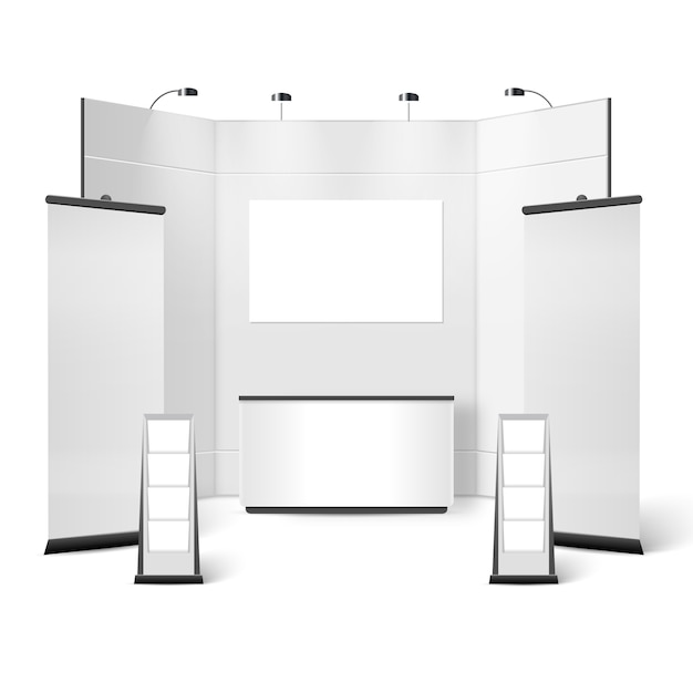 Exhibition stand blank design Free Vector