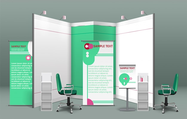 Exhibition stand concept Free Vector