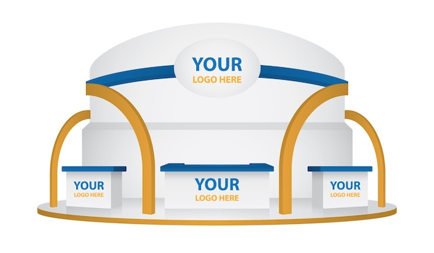 Exhibition stand design. booth template Premium Vector