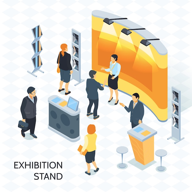Exhibition stand isometric  illustration Free Vector