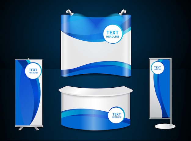 Exhibition stands with blue corporate identity template Premium Vector
