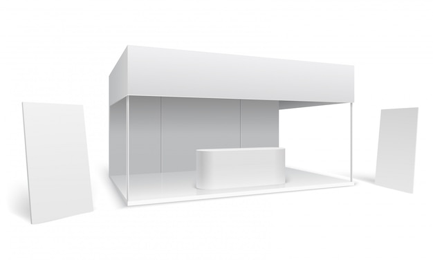 Exhibition trade stand. white empty event marketing booth. promotion stand with display and standing banners 3d vector mockup Premium Vector