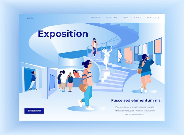 Exhibition visitors view modern abstract paintings Premium Vector