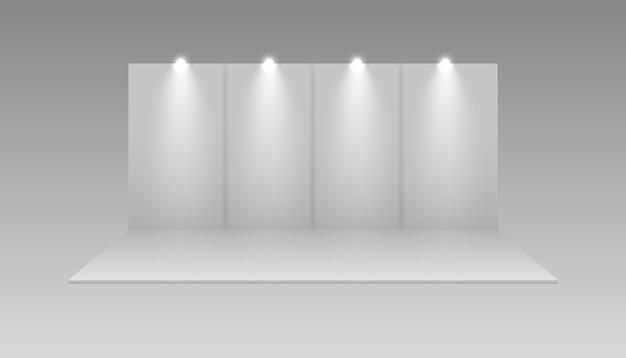 전시 흰색 빈 벡터 부스. 프레젠테이션 이벤트 룸 디스플레이. 전시 부스. 프리미엄 벡터