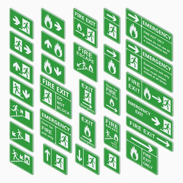 Exit isometric sign  set isolated Premium Vector