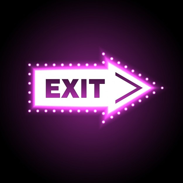 Exit light signboard arrow shaped Free Vector