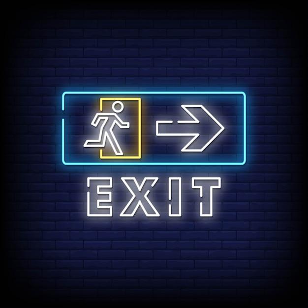 Exit neon sign Premium Vector