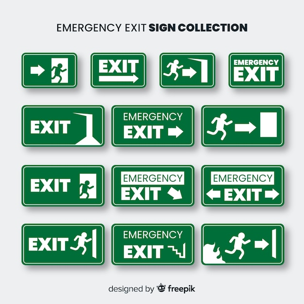 Exit sign collection in flat design Free Vector