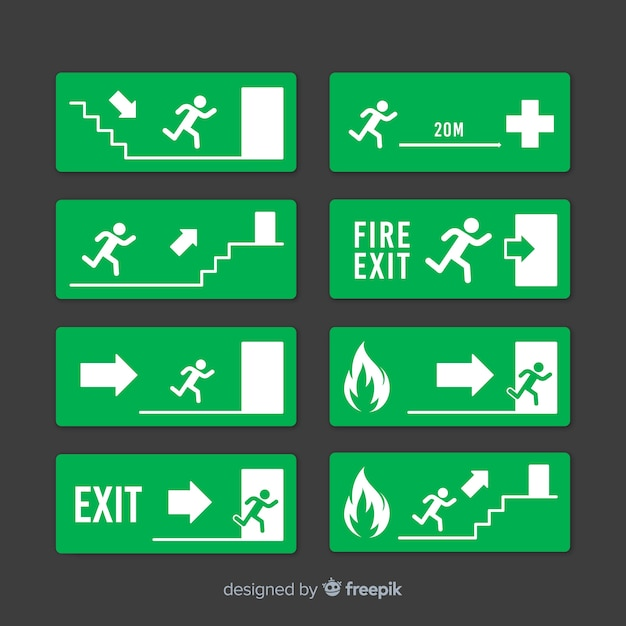 Exit sign collection in flat design Premium Vector