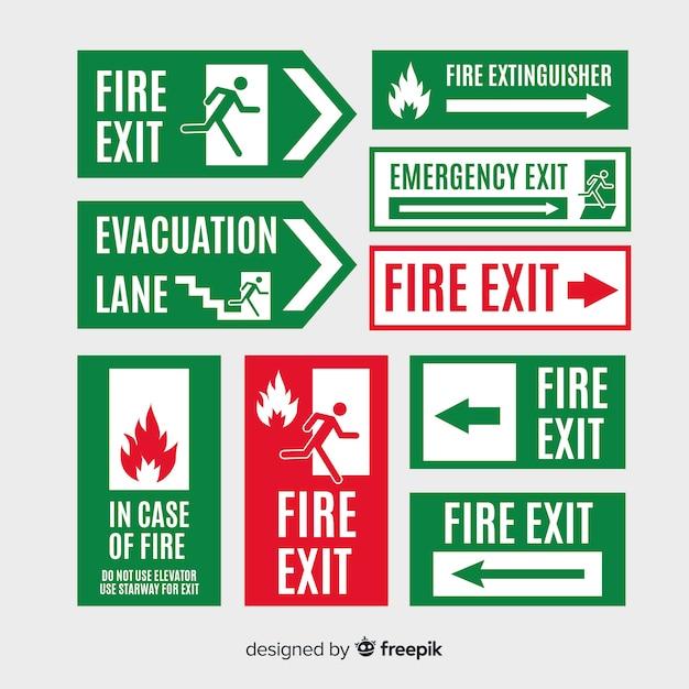 Exit sign collection in flat design Premium Vector