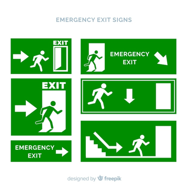 Exit sign collection in flat style Free Vector
