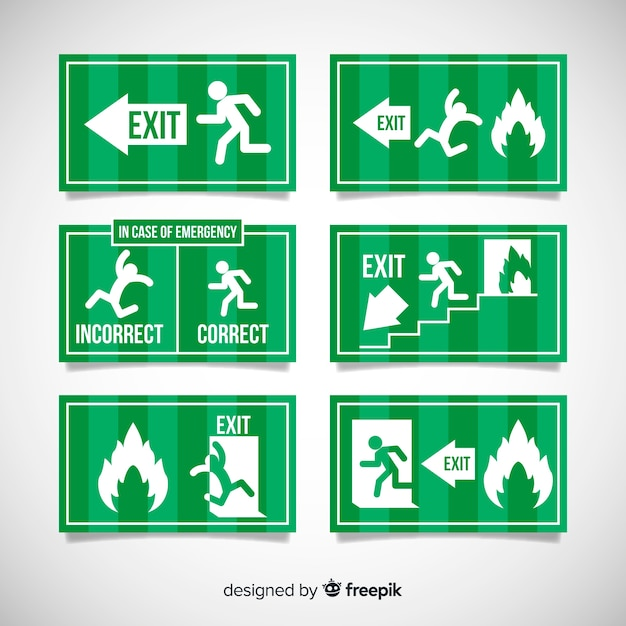 Exit sign collection Free Vector