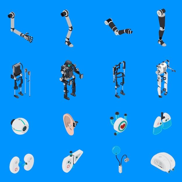 Exoskeleton bionic prosthetics icons set Free Vector