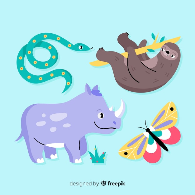 Exotic animal collection flat style Free Vector