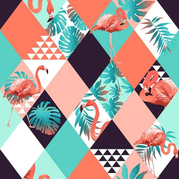 Exotic beach trendy seamless pattern, patchwork illustrated floral Premium Vector