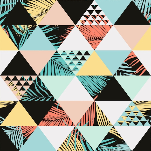 Exotic beach trendy seamless pattern Premium Vector