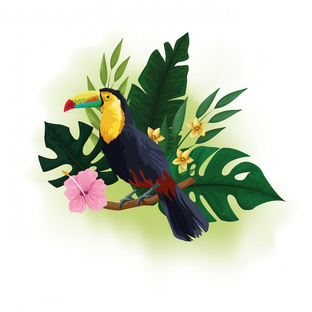 Exotic bird and tropical flowers drawing Free Vector