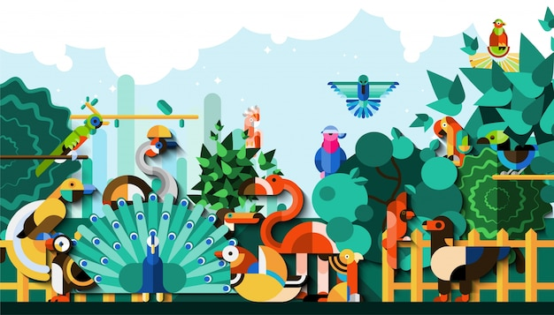 Exotic birds background Free Vector
