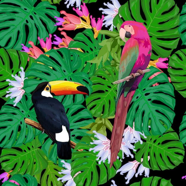Exotic birds seamless pattern Free Vector