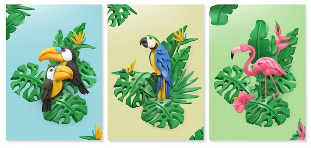 Exotic birds and tropical leaves. toucan, parrot, flamingo. Premium Vector