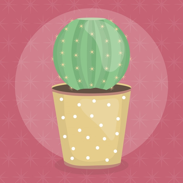 Exotic cactus plant in ceramic pot Free Vector