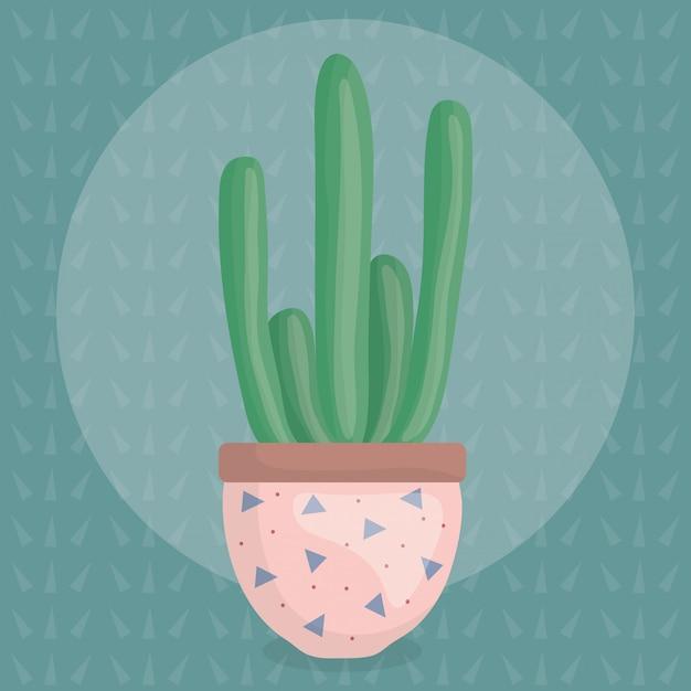 Exotic cactus plant in ceramic pot Free Vector